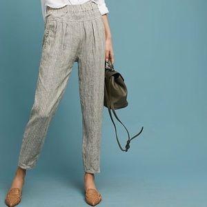 Anthropologie Green Striped Linen Pants Medium